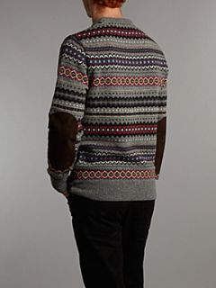 Barbour Caister fair isle crew sweater Grey