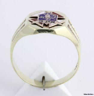 Knights of Columbus Fraternal 1919 Enameled Emblem Mens Ring   14k