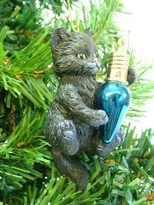New Black Playful Kitten Cat Playing w/ Blue Lightbulb Christmas Tree