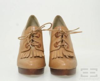 Kors Michael Kors Tan Leather Oxford Wedges Size 7