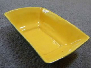 Red Wing Belle Kogan Yellow Green Rectangle Bowl B1393