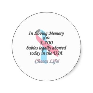 Pro Life Merchandise, In Loving Memory Round Stickers
