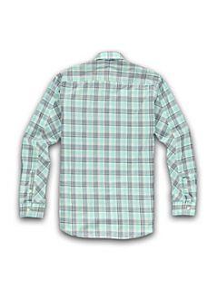 Racing Green Long sleeve aqua check shirt Aqua