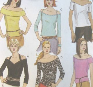 Misses Knit Tops Sewing Pattern Neck Strap Sleeve Variations 1 Hour