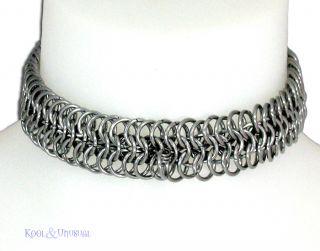 Narrow Steel Chain Mail Slave Collar by Sinpatiko Goth Punk Emo