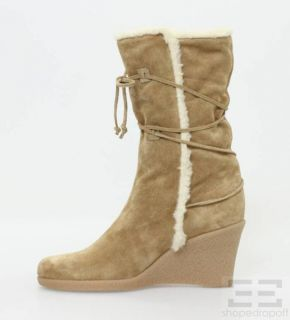 Kors Michael Kors Tan Shearling Wedge Boots Size 8 5 New
