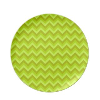 Lime Green Zig Zag Pattern. Party Plate