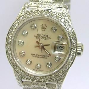 Rolex 18K White Gold Full Diamond Set Ladies Rolex Mother of Pearl