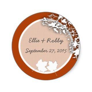 Burnt Orange Fall Theme Round Wedding Favor Label Sticker