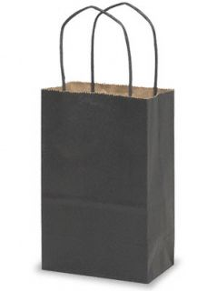 40  BLACK SMALL Kraft Paper ROSE Size Gift Handle Bags 5 1/4 x 3 1/2
