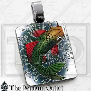 Koi Fish Art Luck Chinese Asian Charm Pendant Necklace