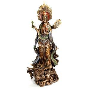 Kwan Yin Dragon Statue Buddha Goddess High Quality Chinese Quan Guan