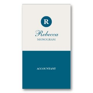 Simple Blue and White Monogram Stationery