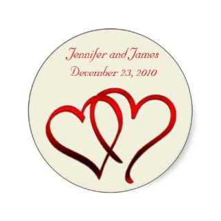 Red Hearts Wedding Sticker