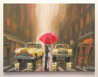 Pete Rumney Art Stopping Traffic NYC New York City Painting Rain
