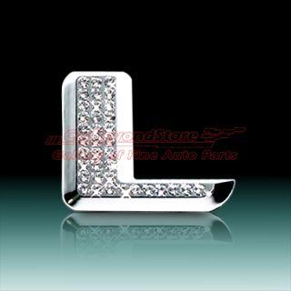 Crystal Letter L Chrome 3D Car Emblem  Free Gift