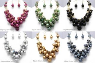 Chunky Pearl Black Gold Necklace Set Elegant Costume Jewelry
