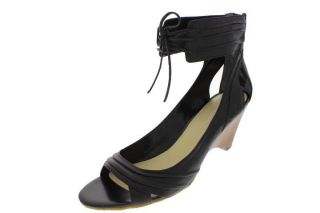 Enzo Angiolini New Jete Black Leather Pleate Lace Ankle Strap Heels
