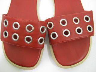 KG by Kurt Geiger Red Leather Grommets Shoes Slides 7