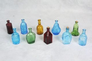 L50 Large Lot Collectible Miniature Mini Glass Medicine Bottles Colors