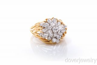 Designer Kwiat 2 48ct Diamond 18K Gold Cluster Large Heavy Ring