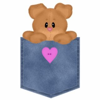 Jean Pocket Teddy Bear Acrylic Cut Out
