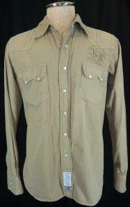 La Martina Polo Logo Embroidered L s Khaki Western Cowboy Shirt Mens