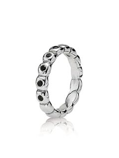 Pandora Sterling Silver and Black CZ Ovals Ring Black