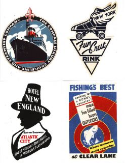 20 Retro Luggage Labels Stickers World Travel Hotels