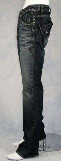 Monarchy Mens Skewed Blues Jeans Bootcut Indigo New