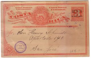 Costa Rica Surch Postal Card Inverted Accent Used 1912