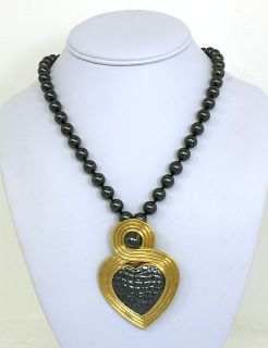 GUCCI 18K GOLD & HEMATITE LADIES HEART PIN/BROOCH PENDANT W/ NECKLACE