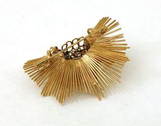 Retro Set 18K Gold Gems Ladies Earrings Pin Brooch