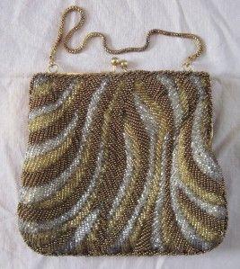 Vinage La Regale Gold Silver Glass Bead Cluch Purse