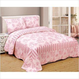 Thro Toile 100 Cotton Quilt Set in Pink White