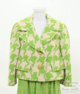 Christian Lacroix Green White Houndstooth Jacket Gathered Skirt Suit
