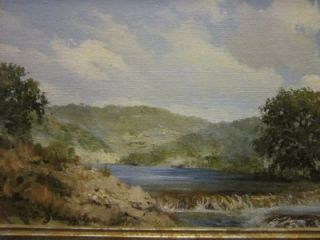 Texas Hill Country Lake Landscape Original Oil Painting w A Slaughter