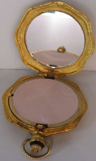 Tone Ornate Woman Man Cameo Pocket Watch Design Powder Compact