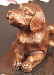 Hot Cast Bronze Labrador Dog Sculpture on Marble Base Figurine Vienna