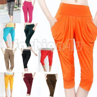 Ladys Candy Colors Summer Drape Harem Pants Hip Hop Elastic Stretchy