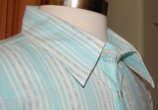Martin Gordon Long Sleeve Green White 100 Cotton Western Shirt Mens XL