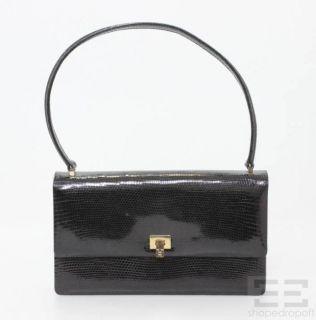 LAMBERTSON Truex Black Lizard Flap Handbag