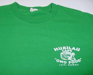 Hukilau Cafe Ono Food Laie Hawaii Hawaiian Bahama T Shirt Sz Mens XL