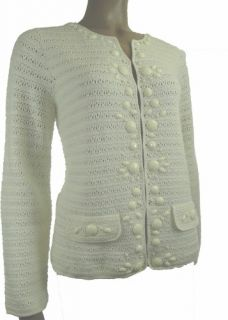 Sutton Studio Womens Wool Crochet Cardigan Gem Trim