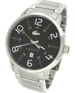 Lacoste 2010495 Black Round Dial Silver Stainless Steel Mens Watch