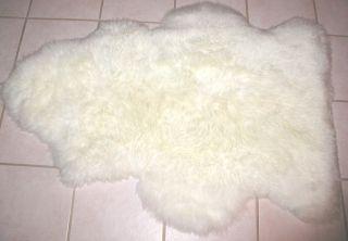 Leah New Luxurious White Sheepskin Lamb Skin Rug Dogs
