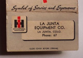 1940s Matchbook IH International Truck La Junta Co MB