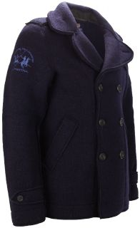 La Martina Mens Navy Blue Double Breasted Wool Coat