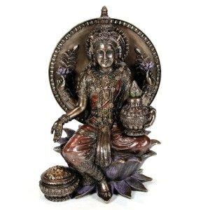 Lakshmi Statue Hindu Wealth Goddess Bronze High Quality Seated Laxmi