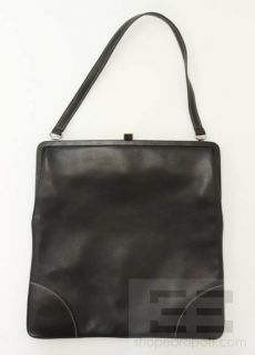 LAMBERTSON Truex Black Leather White Topstitched Frame Handbag